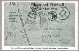 """Schweiz 1915: Bild-PK """"Fliegerpost Przemysl & Portomarke"""" Mit Sonder-o ZÜRICH 12.V.15 BRIEFMARKENAUSSTELLUNG - Taxe"""