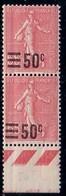 SEMEUSE - 50c/65 ROSE EN PAIRE - N°224 - VARIETE - SURCHARGE NORMALE EN HAUT ET DEPLACEE EN BAS. - Curiosities: 1900-20 Mint/hinged