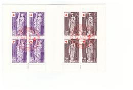 1976 Carnet Croix Rouge Oblitéré Oblitération Premier Jour Cachet Rouge Bourg En Bresse Timbres N°1910 Et 1911 - Rotes Kreuz