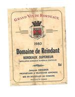 Etiquette De Vin - Domaine De Reindant - Jacques Obissier à Villerouge - Bordeaux