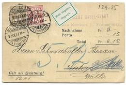 """169 - 22 - Carte Envoyée De Basel à Naters """"Nachnahme"""" étiquette Impayé 1907 - Switzerland"""