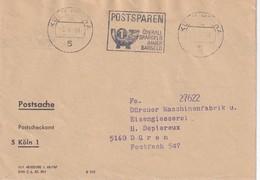 BUND  1968 ENVELOPPE CCP DE KÖLN - Storia Postale