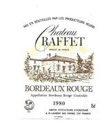 Etiquette De Vin - Chateau Raffet à St Laurent Des Vignes - 1980 - Bordeaux