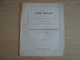 LETTRE CIRCULAIRE DE MESSIEURS LES VICAIRES CONSECRATION JEAN-BAPTISTE-AMEDEE LATIEULE EVEQUE DE VANNES - Books, Magazines, Comics