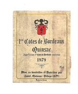 Etiquette De Vin - 1er Côtes De Bordeaux - Quinsac - Amiel Quinsac Village - 1979 - Bordeaux