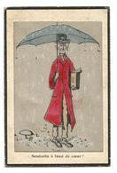 1 CP : Dessin, D'un Homme Sous Un Parapluie, Pluie, Document, Manteau, Champignon, Peinture à Main - Fantaisies