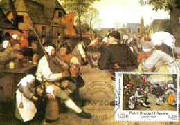 France 3381/84 Fdc Pieter Bruegel L'Ancien, La Danse Des Paysans, Cornemuse - Arts