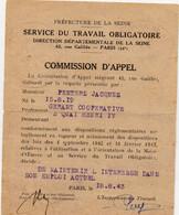 1943  Formulaire STO Préfecture De La Seine Commission D'appel - Marcophilie (Lettres)