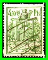 ESPAÑA 1936 SELLO FISCAL 4-5PESETAS (( PIE IMPRENTA LIT. E IMP ROEL CORUÑA.VERDE) - Steuermarken