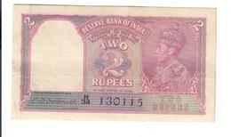 British India King George VI 2 Rupees 1937 Pick#2B ( 1943 ) Lotto 2147 - Inde