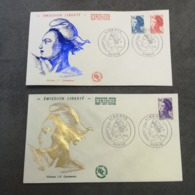 FRANCE 2 FDC Série MARIANNE LIBERTE 1983 - Collection Timbre Poste - 1980-1989