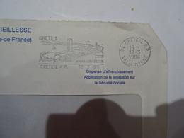 Lettre Flamme CRETEIL CITE HARMONIEUSE 1986  TBE - 1961-....