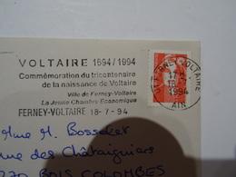 Lettre Flamme VOLTAIRE 1694/1994 TRICENTENAIRE 01 FERNEY-VOLTAIRE  1994  TBE - 1961-....