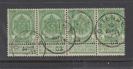 COB 56 Bande De 4 Oblitération Centrale OSTENDE - 1893-1907 Wappen