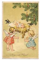 1 CP : Anges , Bougie Allumée, Sapin, Enfant Jésus, Oiseau - Coloprint Spéciel 1264 - Andere