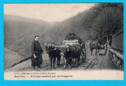 """CPA 1910 BOUILLON """" Attelage Conduit Par Un Moine Trappiste """" Circulée - Ed. Florin Coiffeur, Bouillon - 2 Scans - Bouillon"""