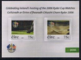 IRLANDA 2006 36 COPPA RYDER GOLF  FOGLIETTO LENTICOLARE  AUTOADESIVO BF 71  MNH - Unused Stamps