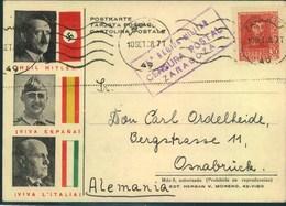 "1938, Spanische Propagandakarte Hitler, Franco Und Mussolini ""CENSURA POSTAL ZARAGOZA"" - Alemania"