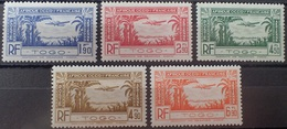 R2740/354 - 1940 - COLONIES FR. - TOGO - POSTE AERIENNE - SERIE COMPLETE - N°1 à 5 NEUFS* - Neufs