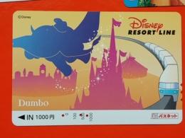 T-170 - JAPAN, JAPON, Prepaid Card DISNEY DUMBO, ELEPHANT - Disney