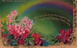 Birthday Greetings - Flowers - Embossed - Gilding - Written In 1912 - 2 Scans - Birthday