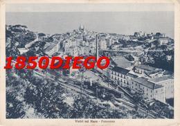 VIETRI SUL MARE - PANORAMA CON STAZIONE E TRENI  F/GRANDE VIAGGIATA 1937 ANIMATA - Salerno