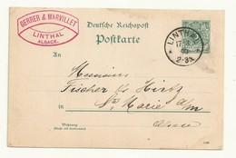 ALLEMAGNE  ENTIER POSTAL  OBLITERATION LINTHAL (ALSACE)  1890  . - Allemagne