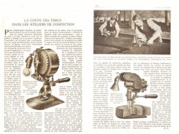 LA COUPE Des TISSUS Dans Les ATELIERS De CONFECTION  1924 - Sciences & Technique