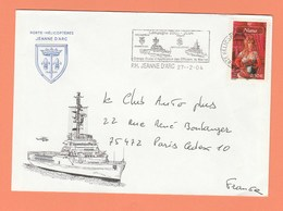 ENVELOPPE ILLUSTREE PORTE-HELICOPTERE JEANNE D'ARC FLAMME CAMPAGNE 2003-2004 - Naval Post