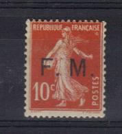 FM N°5 Semeuse 10ct  Rouge Neuf * Petite Charnière - Franchise Stamps