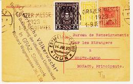 AUTRICHE, Entier Postal Avec Deux Compléments En 1923 De Graz ( Styrie ) Pour Monaco TB - Entiers Postaux