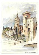 13 - AVIGNON - PALAIS Et CATHEDRALE - Aquarelle Originale De Robert LEPINE - Ed. Yvon N° 15 00 7214 - Avignon