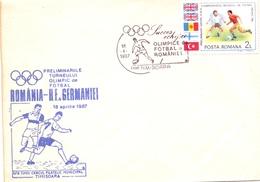 FOOTBALL  ROMANIA 1987 GERMANY ROMANIA TIMISOARA COVER    (APRI200087) - Covers & Documents