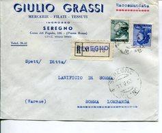 Italia (1964) - Raccomandata 2 Porti Da Seregno (MI) - 1946-.. République