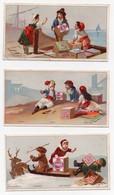 CHROMO Biscuits Huntley & Palmers Grecs Italiens Lapons Greeks Laplanders Italians (3 Chromos) - Snoepgoed & Koekjes