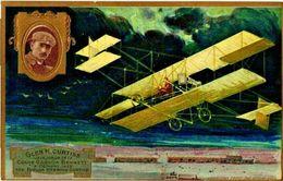 1 Post Card Aviation Glen H Curtiss Coupe Gordon Bennett C1909 Pub Lefevre Utile Vainqueur Pioneer - Litho Gaufré VG - Célébrités