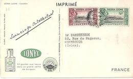 Sierra Leone Carte Publicitaire Ionyl Caméléon - Sierra Leone (...-1960)