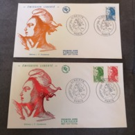 FRANCE 2 FDC Série MARIANNE LIBERTE 1984 - Collection Timbre Poste - 1980-1989
