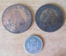Espagne - 3 Monnaies : Diez (10) Centimos 1870 OM X 2 Et 50 Centimos 1904 SM.V En Argent - [ 8] Collections