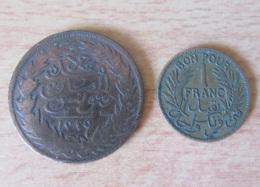 Tunisie - 2 Monnaies : 2 Kharub Abdul Mehjid 1289 (1872) + Bon Pour 1 Franc 1921 - Tunisie
