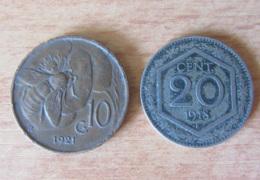 Italie - 2 Monnaies : 10 Centesimi Vittorio Emanuele III 1921 R Et 20 Centesimi 1918 R - Italia