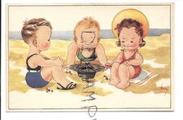 A La Plage. Trois Enfants Jouent Aux Billes Sur Un Chapeau-toupie. Signée Henry. - Scene & Paesaggi
