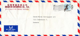 Taiwan Air Mail Cover Sent To Denmark Single Franked (the Cover Is Bended) - 1945-... Republic Of China