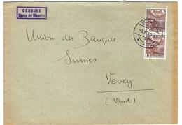 SUISSE 1942:  LSC Du Camp De Moudon Censurée Pour Vevey Avec Paire Du ZNr.242,  Beau CAD - Svizzera