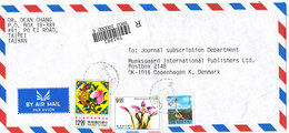 Taiwan Registered Air Mail Cover Sent To Denmark 1-7-1993 Topic Stamps - 1945-... Republic Of China