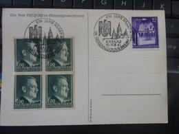 Carte Postale Tag Der NSDAP 15 17 Août 1941 Oblitération Krakau Général Gouvernement Soldat Allemand Casque HITLER - 1939-44: World War Two