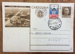 CARTOLINA POSTALE OPERE DEL REGIME LITTORIA DA BOLOGNA A FORLI' IL 3/6/33 - CON  10 C. MARCA ANTITUBERCOLARE - 1900-44 Vittorio Emanuele III