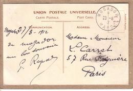 MAROC , FRANCE - CARTE POSTALE POUR PARIS , CAD MOGADOR SUR 5 C BLANC AVEC SURCHARGE PROTECTORAT - 1912 - Lettres & Documents