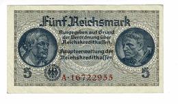 BILLET ZONE ALLEMANDE OCCUPEE 1938-45 5 REICHSMARK - [ 4] 1933-1945 : Tercer Reich