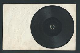 Carte Disque Vinyle. Gramophone.  Illustration Art Nouveau Gaufrée, Circulé En 1910. Voir Dos!. Très Rare. - Other